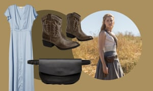 Leather belt bag,£55, Cos; satin dress, £25, H&M; Dolores in Westworld; vegan ranch boot, £58, freepeople.com