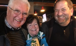 Ireland supporters Brendan and Una Kindlon with their English friend George Manolescue, right.