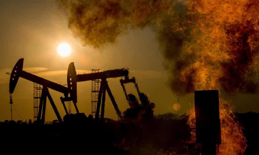 An oil field in North Dakota, US.