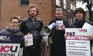 Lecturers on strike earlier this year.