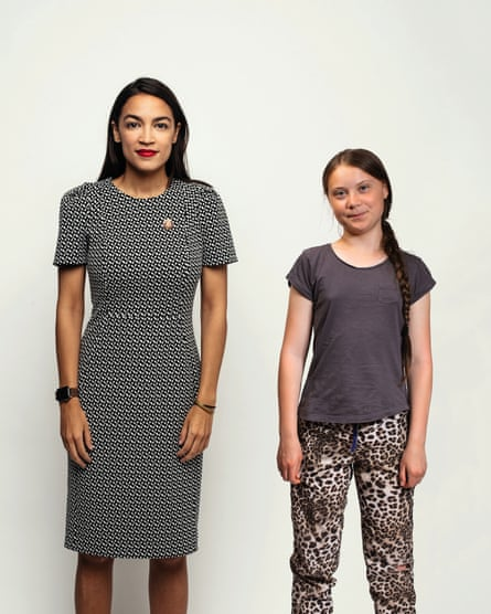 Alexandria Ocasio-Cortez and Greta Thunberg.