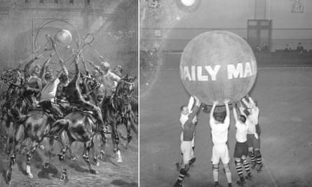 Two variants of Pushball – Aviation Pushball, left, being played by British cavalrymen circa 1914, and Roller Skating Pushball in 1936.