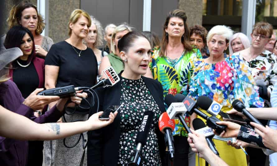 Rebecca Jancauskas from Shine Lawyers speaks on behalf of victims outside the federal court in Sydney last November when the vaginal mesh class action judgement was handed down
