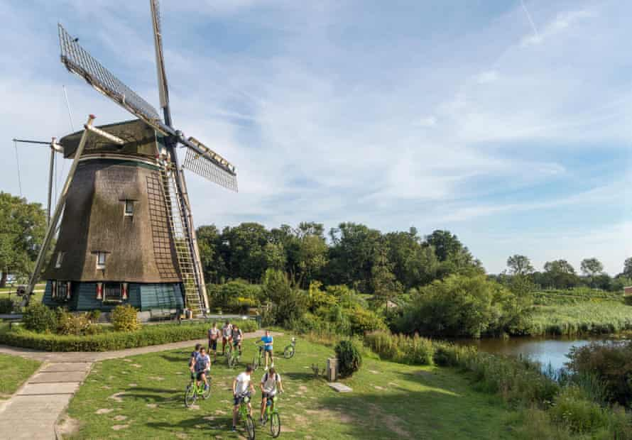 The Rieker Windmill on the Amstel River in the Netherlands.
