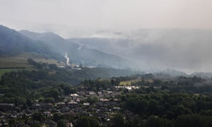 A wildfire 6km wide sweeps across the moors near Stalybridge, Greater Manchester