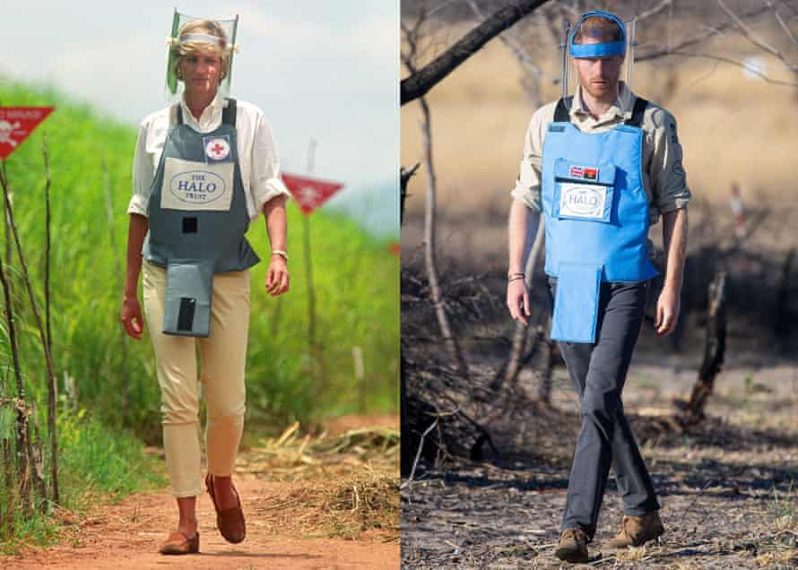Princess Diana and Prince Harry walking through a minefield in Angola, 22 years apart.