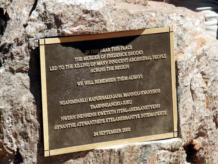A plaque commemorating the 1928 Coniston massacre