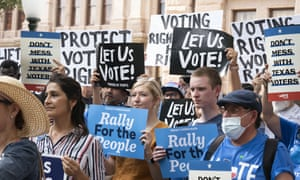 Protesters denounce voter suppression in Austin last month.
