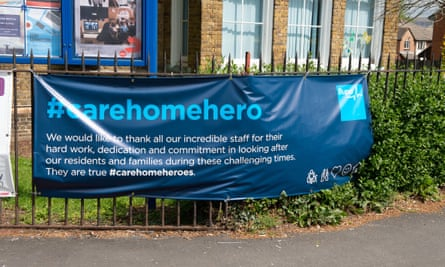 A banner outside the Bupa St Mark's Care Home in Maidenhead, Berkshire.