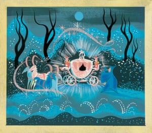 Conceptual art of Cinderella's fairy godmother creating her coach: a gouache by artist Mary Blair for Cinderella (1950).