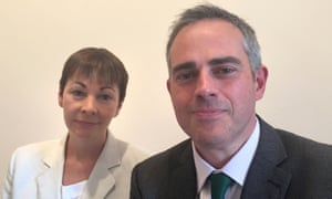 Newly elected Green party co-leaders Caroline Lucas and Jonathan Bartley at the party conference in Birmingham