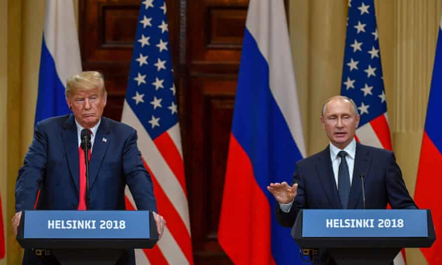 Donald Trump and Russia's president, Vladimir Putin, attend a joint press conference in 2018.