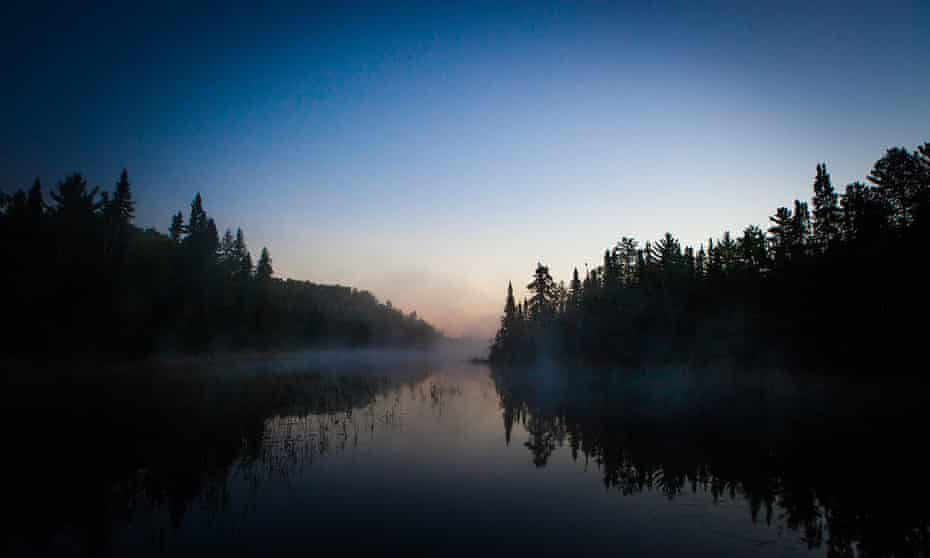 The Northwest Angle is 80% water, surrounding a small rectangle of land cut off by Canada