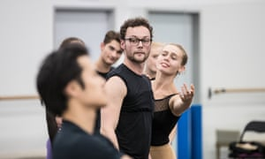 'Here, I don't have a backstory. It's nice to come in fresh' … Liam Scarlett, centre, during rehearsals.