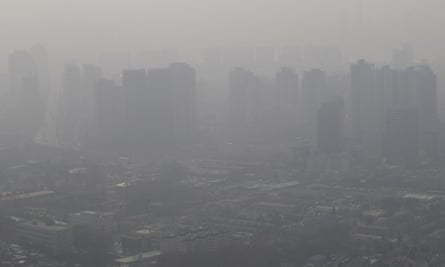 Buildings and houses are covered with a thick haze in Seoul, South Korea in February 2014.