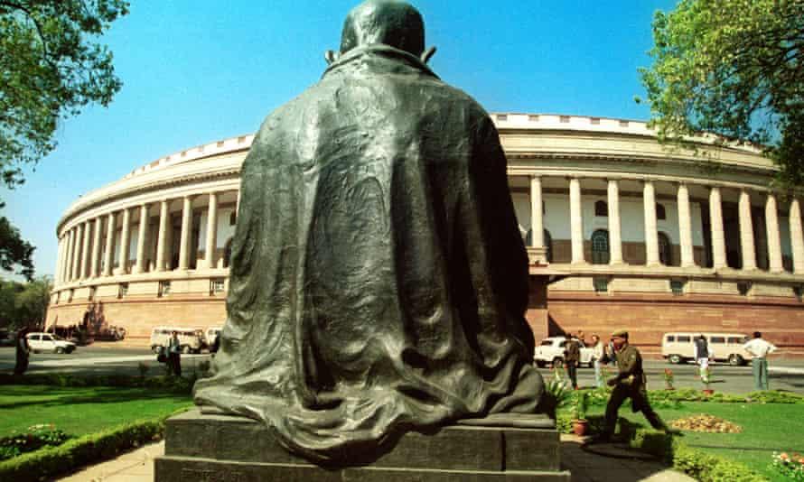 The statue of Mahatma Gandhi surveys the present Parliament House.