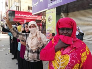 Sudanese women rally near the military headquarters