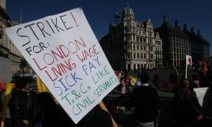 Members of the IWGB union demonstrating in Parliament Square on Tuesday.