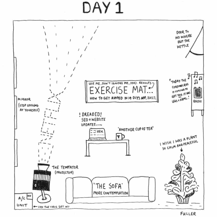 Day 1 from The Quarantine Maps by the artist Fuller.
