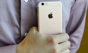 iphone 6S and a metallic pink shirt