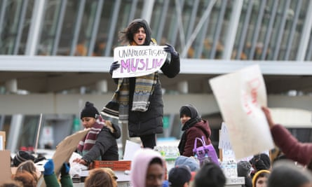 A protest at New York's JFK international airport against the original executive order banning entry of citizens from seven Muslim-majority countries.