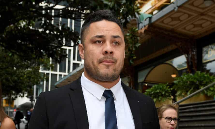 Jarryd Hayne leaves the Downing centre court in Sydney