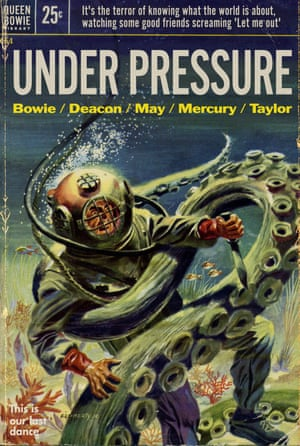 Under Pressure by David Bowie and Queen reinvented as a pulp fiction book cover by graphic artist Todd Alcott.