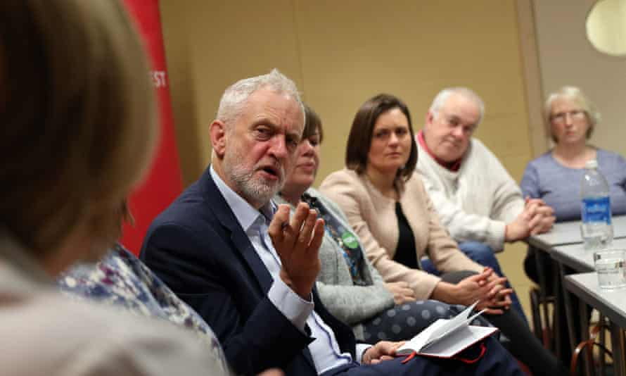 Jeremy Corbyn speaks to NHS staff at Park South community centre in Swindon.