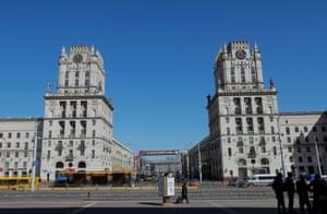 An almost empty square in Minsk, Belarus