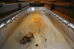 Granules of monoammonium phosphate (MAP) moved into a storage warehouse in Cherepovets, Russia