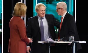 Boris Johnson (centre) and Jeremy Corbyn at the ITV debate, with the presenter Julie Etchingham
