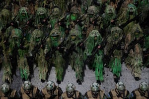 San Salvador, El Salvador: Soldiers parade during the celebration of independence day