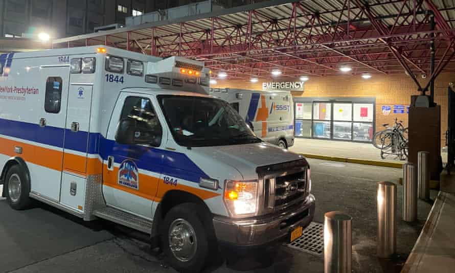 Ambulances outside a New York hospital.