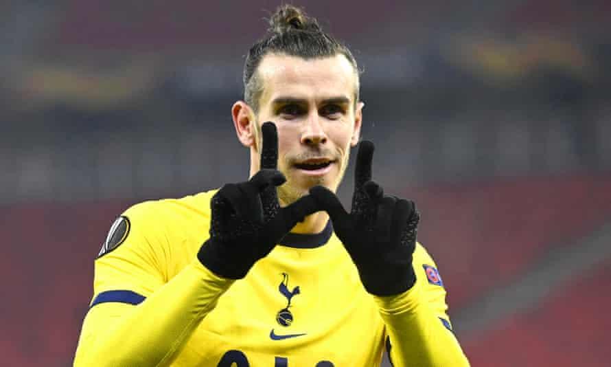 Gareth Bale celebrates his goal for Tottenham in their Europa League first leg against Wolfsberger.