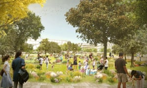 Architectural rendering of Facebook's proposed Willow Campus in Menlo Park, California.