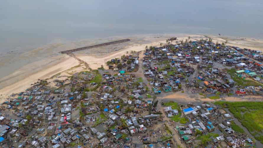 Drone footage of Praia Nova village after Cyclone Idai made landfall in Sofala province, central Mozambique.
