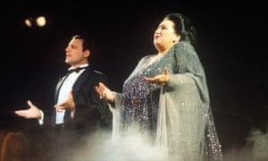 Freddie Mercury and Monserrat Caballé perform Barcelona on May 29, 1987 in Ibiza, Spain