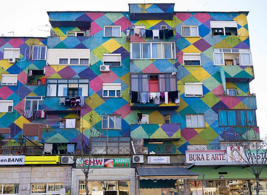 One of Tirana's painted buildings, an art movement that kickstarted revitalisation in the city.