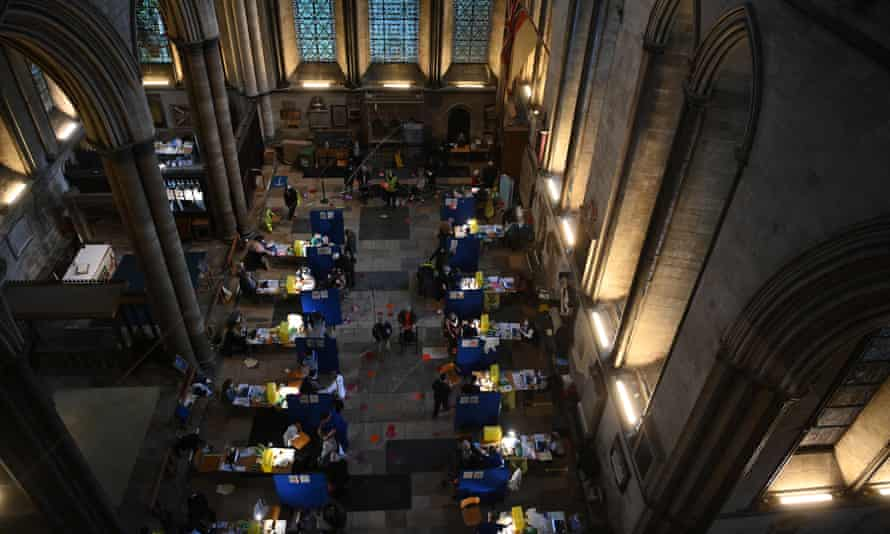 People being vaccinated against Covid in Salisbury Cathedral on 20 January.