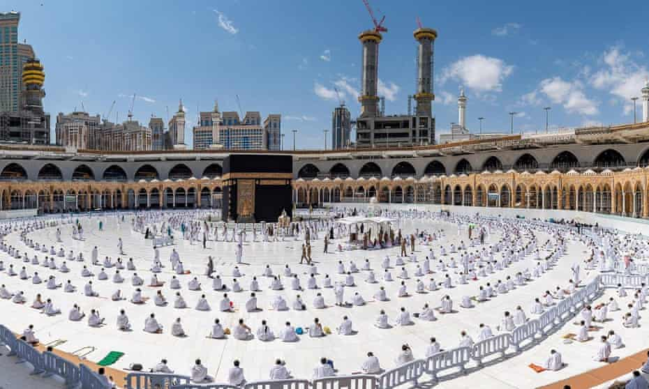 Worshippers maintaining social distance at the Grand Mosque in Mecca