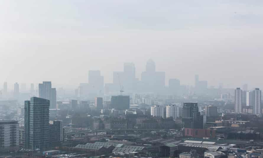 London skyline seen through haze