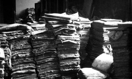 Waterlogged books.