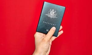 Man holding an Australian passport