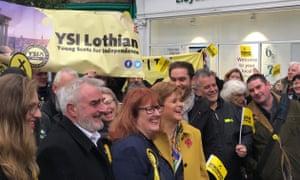 Nicola Sturgeon at an SNP election event in Leith, Edinburgh.