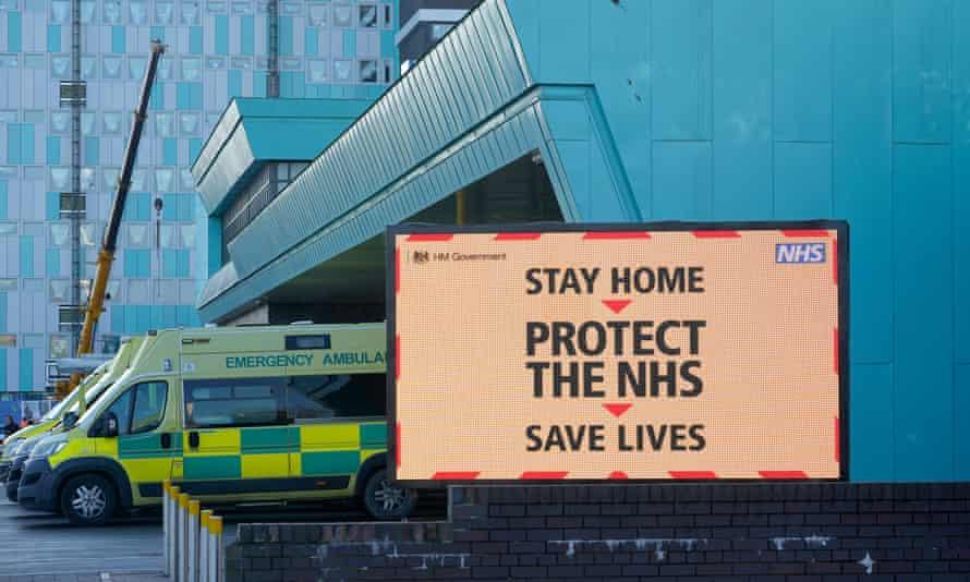 Ambulances line up at the Aintree University hospital, Liverpool, on 5 January.