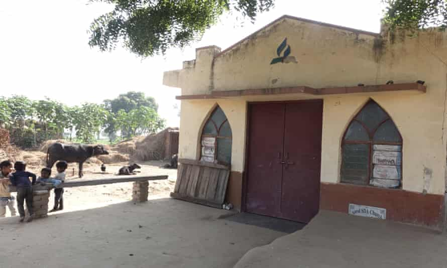 A village church in a Hindu-dominated village of Asroi in Aligarh district. In 2014 Hindu activists stormed into the church and installed Hindu idols on its pulpit aiming to convert it to a Hindu temple.