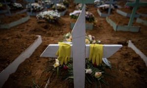 View of the grave of a person who died with Covid-19 in Manaus, Brazil. (Photograph: RAPHAEL ALVES/EPA)