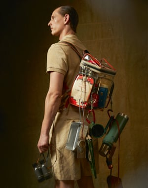 Polo top, £125, and shorts, £155, by Orlebar Brown. Bag, £725, by Bally. Flask, £42, and mug, £9, from Labour and Wait. Peg hammer, £49, by Snow Peak