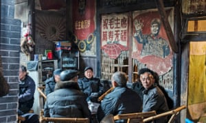 Old tea house decorated with cultural revolution-era posters, Chengdu, Sichuan Province, China.