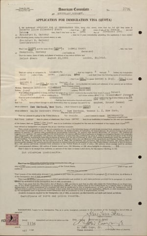 A visa application for Alice Stern from 1940 on display at the Americans and the Holocaust exhibition.